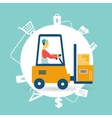 Loader lifts boxes icon vector image