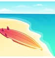 Beautiful beach seascape with surf board on the vector image