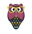 Cute colorful owl with glasses vector image vector image