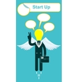 happy lamp head businessman with victory vector image