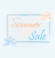 summer sale with orange and blue flower vector image