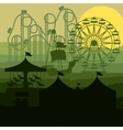 sunset background amusement park vector image
