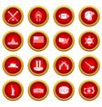 usa icon red circle set vector image