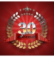 Anniversary 30th ring with red ribbon vector image