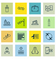 set of 16 travel icons includes timetable vector image