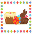 tasty easter treats in eggs frame vector image
