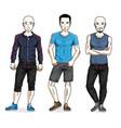 happy men group standing wearing stylish sport vector image