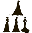 brides young women in long dresses silhouettes vector image