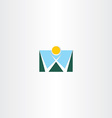 logo letter w mountain and sun icon vector image