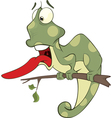 Big green Chameleon cartoon vector image