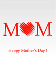 Mothers day greeting card in red vector image