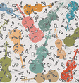 Grunge vintage background with violins and musical vector image