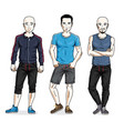 happy men group standing wearing stylish sport vector image