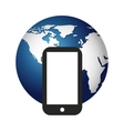 world planet with smartphone icon vector image
