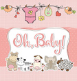 baby girl shower card with animals vector image
