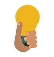hand holds bulb idea innovation creative design vector image