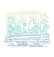 Boy playing in his room - line design vector image