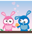 rabbits in love vector image vector image