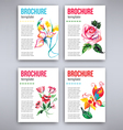 Big set of flyers template with watercolor flowers vector image