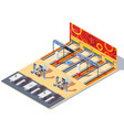 bowling center isometric interior vector image