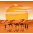 Caravan in desert background Arab people vector image