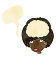 cartoon empty headed woman with speech bubble vector image