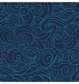 dark Blue waving curls marine sea pattern ocean vector image