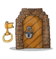 key and door of the castle - vector image