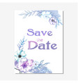 save the date purple floral white background vector image