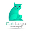 Stylized silhouette cat Volume Logo Colorful 3d vector image