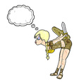 cartoon viking girl bowing with thought bubble vector image