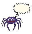 cartoon halloween spider with speech bubble vector image