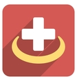 Medical Community Flat Rounded Square Icon with vector image