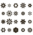 set of black flat flower icons vector image