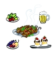 A delicious kebab meat and beer and sweet cakes vector image