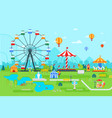 amusement park flat at daytime vector image