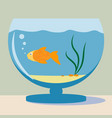 aquarium with golden fish silhouette vector image