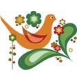 bird with flower vector image