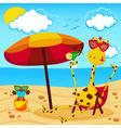 giraffe and a bird on the beach vector image