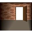 Open door in brick wall vector image