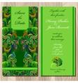 Peacock Feathers wedding invitation card vector image