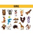 Set of Cute cartoon Animals mammals living in vector image