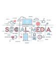 social media network video marketing thin line vector image