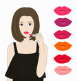 Woman applying lipstick vector image