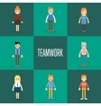 Teamwork concept with people cartoon characters vector image