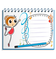 A notebook with a drawing of a girl dancing ballet vector image vector image