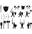 People warriors and medieval weapons vector image vector image