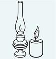 Kerosene lamp and candle vector image
