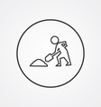 construction works outline symbol dark on white vector image