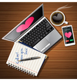 laptop and mobile phone with hot coffee and book vector image